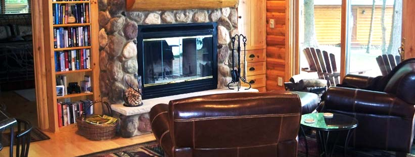 Fireplace in Log Home